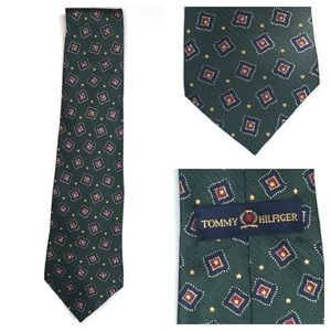 TOMMY HILFIGER Green w/Diamond Italian Silk Tie
